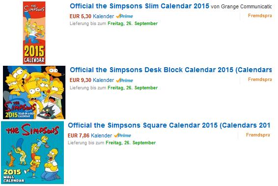 simpsons kalender 2015 billig reduziert dealblog. Black Bedroom Furniture Sets. Home Design Ideas