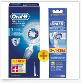 oral b pro 1000 precision clean zahnb rste von braun 10 aufsteckb rsten dealblog. Black Bedroom Furniture Sets. Home Design Ideas