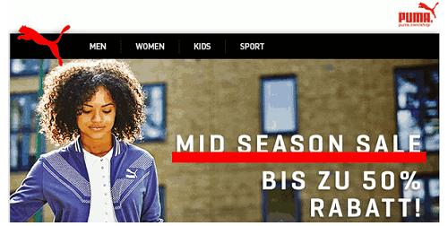 PUMA Onlineshop mit Mid-Season-Sale