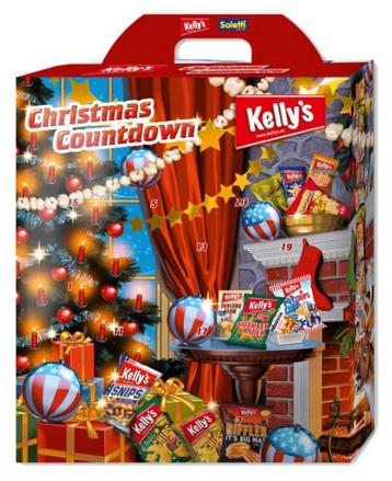 Kellys und Soletti Snack-Adventskalender mit Chips & Knabberei