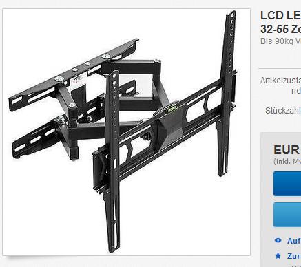 fernseher tv ger t 32 bis 55 zoll wandhalterung. Black Bedroom Furniture Sets. Home Design Ideas