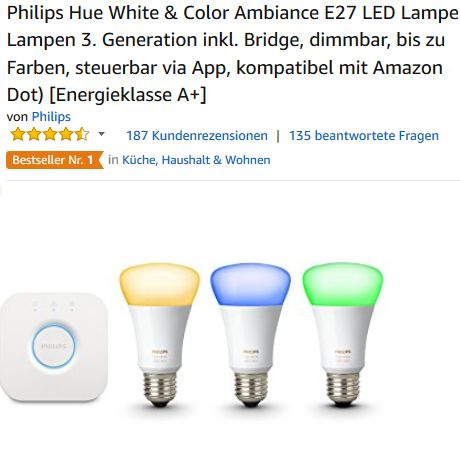 Philips Hue White & Color Ambiance E27 Starter Set