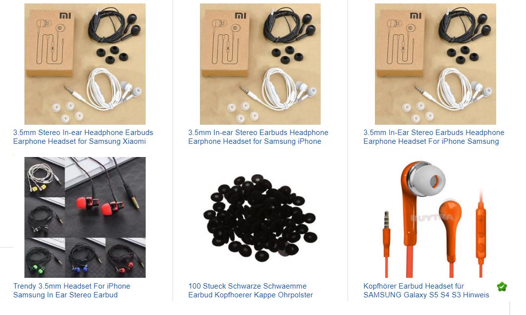 Earbud-Kopfhörer 1 Euro mit Versand