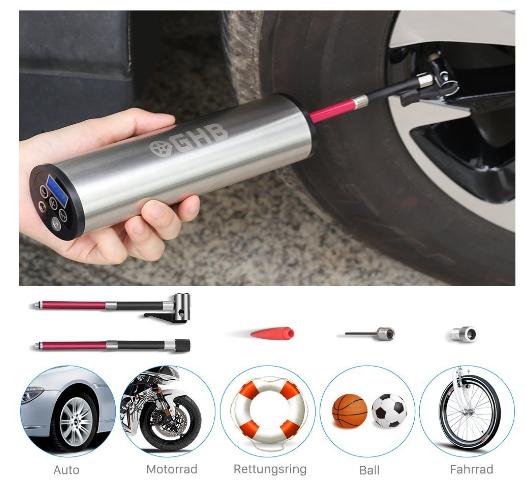 elektronische Universal-Luftpumpe für Auto, Fahrrad, Luftmatratze