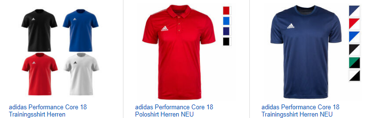 ebay.de-Screenshot zu adidas Performance Core 18